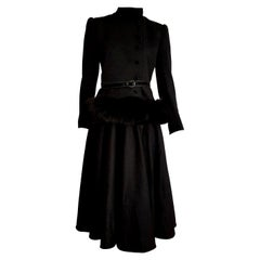 "VALENTINO ""New"" Haute Couture Black Silk Crêpe Fox Fur Jacket Dress - Unworn"