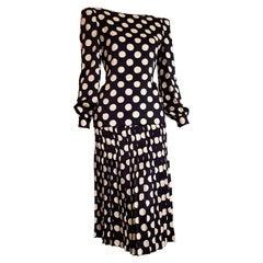 "VALENTINO ""New"" Haute Couture Black Silk White Polka Dots Flower on Back- Unworn"