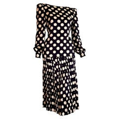 "VALENTINO ""New"" Haute Couture Black Silk White Polka Dots Flower on Back- Unworn"