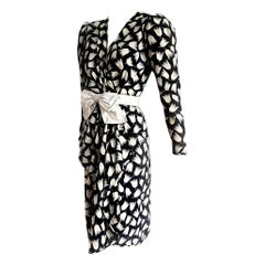 "VALENTINO ""New"" Haute Couture Black White Tulips Belt Silk Dress - Unworn"