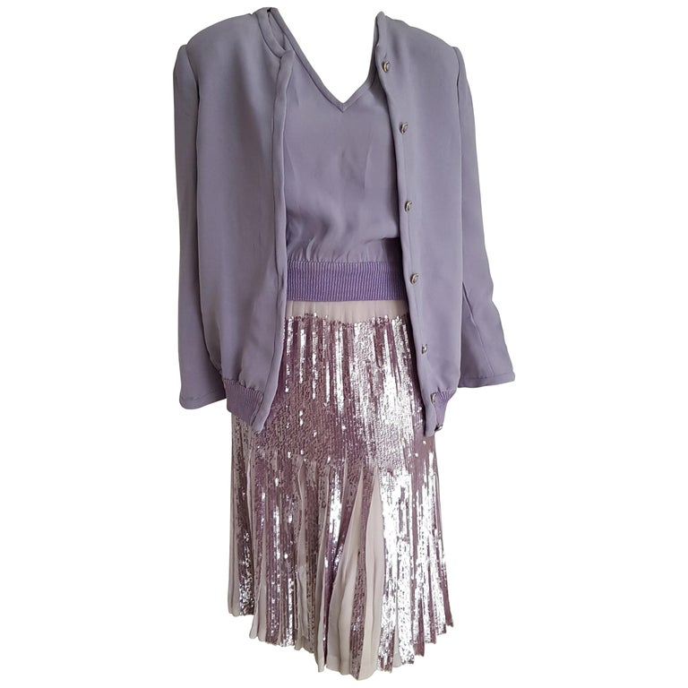 VALENTINO Haute Couture lilac, 3 pcs, top jacket and pleated skirt, with swarovski sequins, Valentino's single piece unique design, silk ensemble - Unworn, New  SIZE: equivalent to about Small / Medium, please review approx measurements as follows