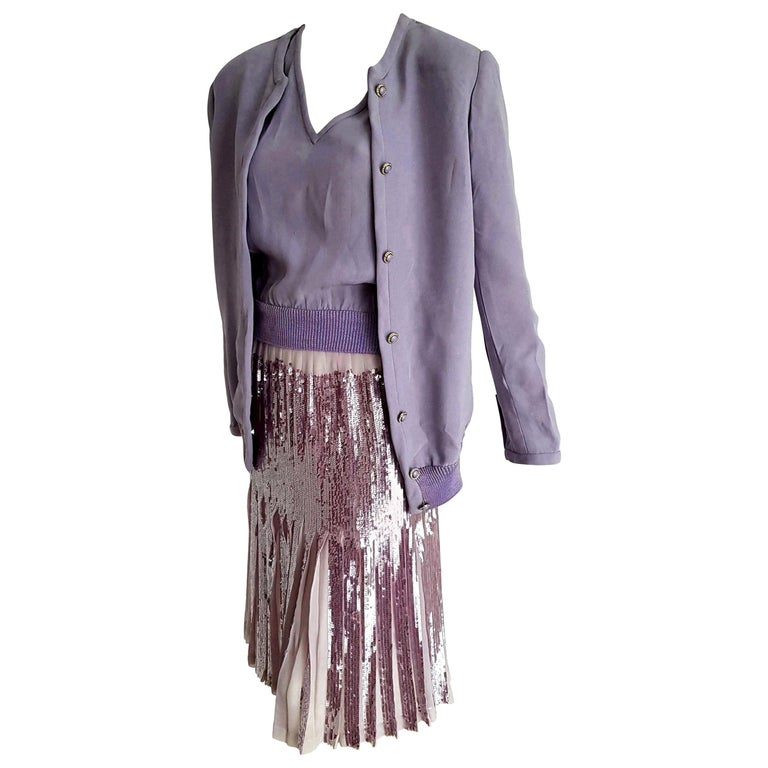 """VALENTINO """"New"""" Haute Couture Lilac Top Jacket Pleated Skirt Sequins Silk-Unworn For Sale"""