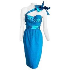 "VALENTINO ""New"" Haute Couture One Shoulder Strap Turquoise Silk Dress - Unworn"
