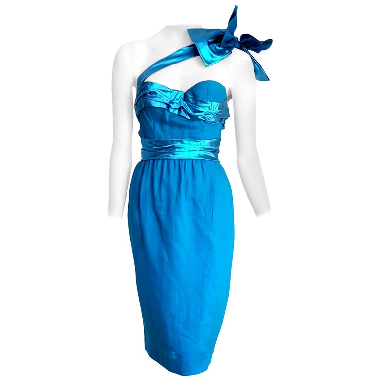 """VALENTINO """"New"""" Haute Couture One Shoulder Strap Turquoise Silk Dress - Unworn For Sale"""