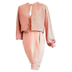 """VALENTINO """"New"""" Haute Couture Pink with Brown Polka Dots Silk Dress - Unworn"""