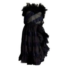 "VALENTINO ""New"" Haute Couture Strapless Silk Satin Black Evening Dress - Unworn"