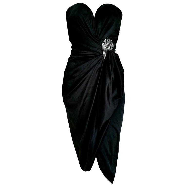 """VALENTINO """"New"""" Haute Couture Swarovski Diamonds Drop in Front Silk Gown -Unworn For Sale"""