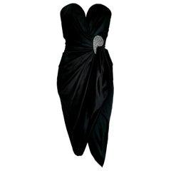 "VALENTINO ""New"" Haute Couture Swarovski Diamonds Drop in Front Silk Gown -Unworn"