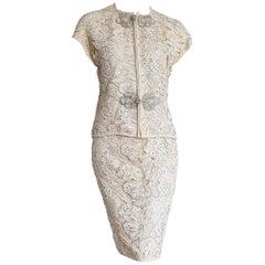 """VALENTINO """"New"""" Haute Couture Swarovski Diamonds Embroidered Lace Suit - Unworn"""