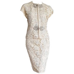 "VALENTINO ""New"" Haute Couture Swarovski Diamonds Embroidered Lace Suit - Unworn"