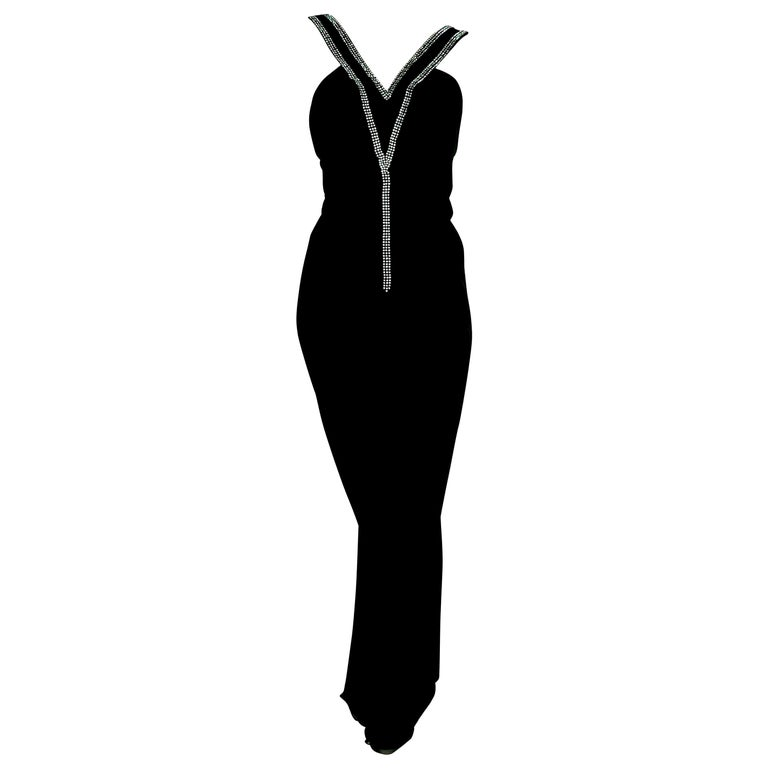 "VALENTINO ""New"" Haute Couture Swarovski Diamonds on Black Hems Silk Gown- Unworn For Sale"