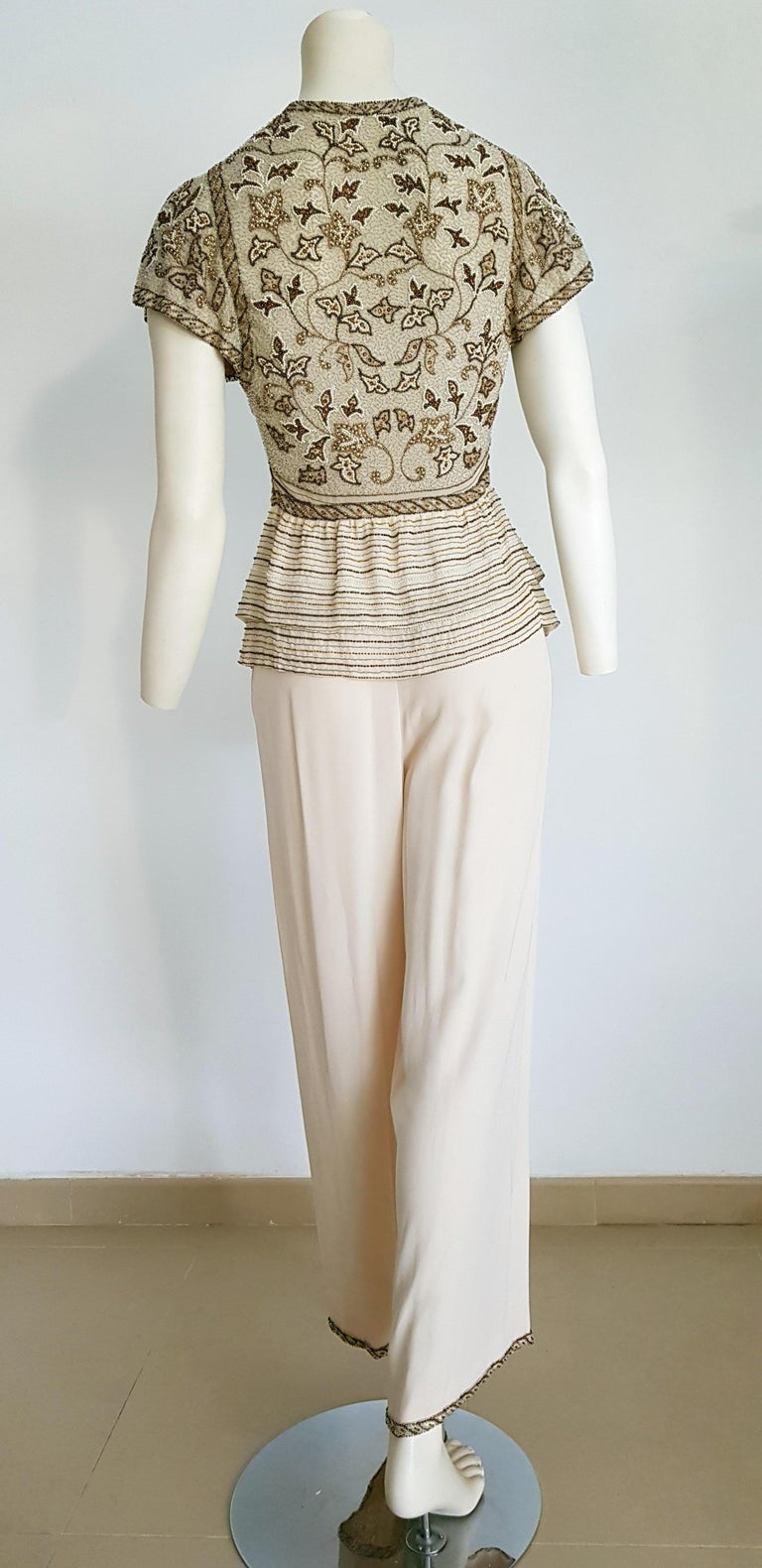 VALENTINO Haute Couture top and pants, silk and organza crepe, embroidered swarovski beaded beige dress - Unworn New  SIZE: equivalent to about Small / Medium, please review approx measurements as follows in cm.  TOP: lenght 60, chest underarm to