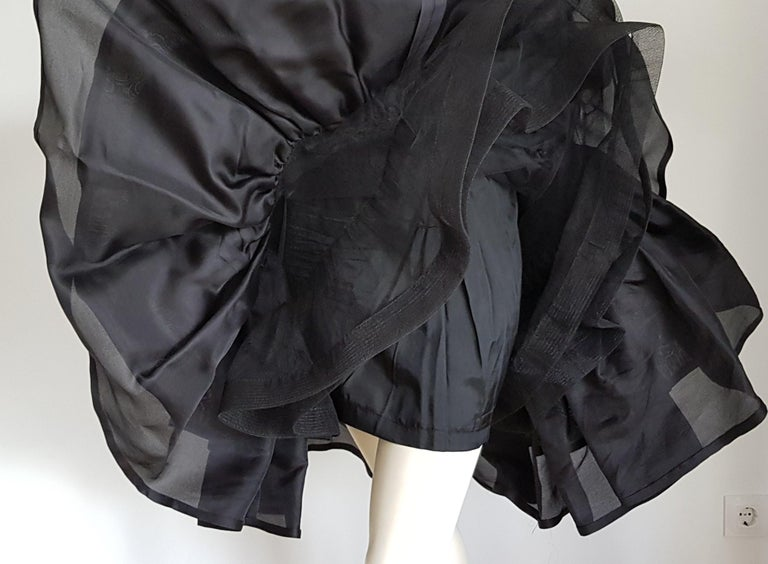 VALENTINO Haute Couture Velvet Black Corsage Silk Flounced Black Gown Dress - Unworn, New.  SIZE: equivalent to about Small / Medium, please review approx measurements as follows in cm.  CORSAGE: lenght 40 and 50, chest underarm to underarm 52, bust