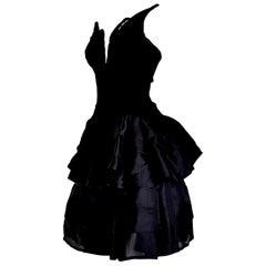 "VALENTINO ""New"" Haute Couture Velvet Corsage Silk Flounced Gown Dress - Unworn"