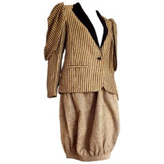"""VALENTINO """"New"""" Jacket and Egg Shape Skirt Linen and Silk Suit - Unworn"""