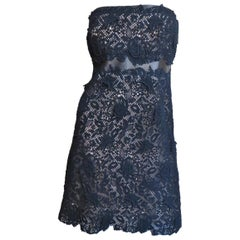 Valentino New Lace and Leather Strapless Dress