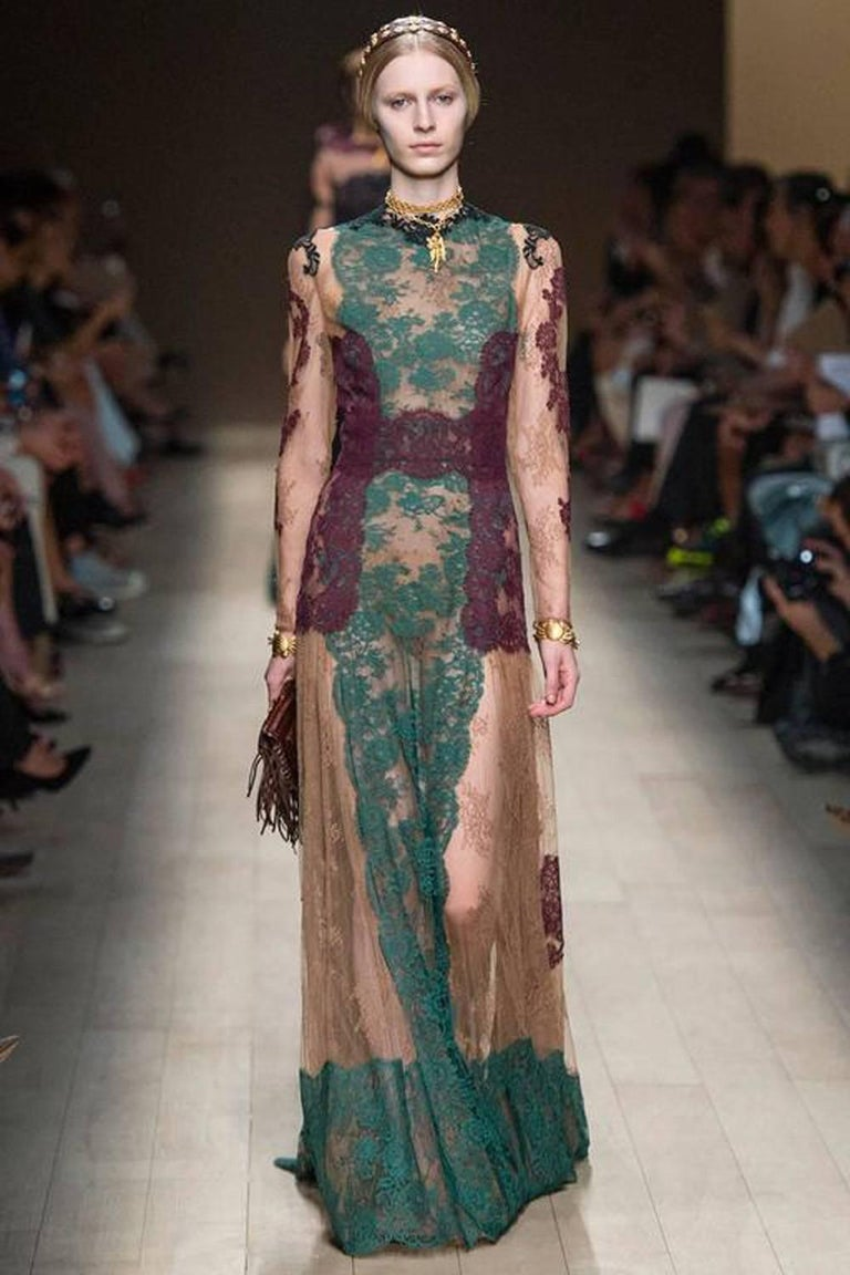 Valentino New runway Chantilly Lace Gown at 1stdibs