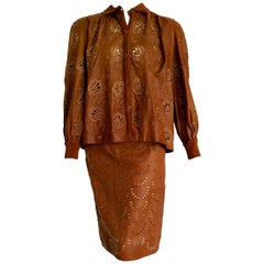 "VALENTINO ""New"" Perforated Brown Leather Silk Embroidered Skirt Suit - Unworn"