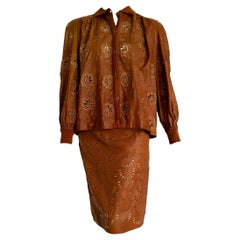 """VALENTINO """"New"""" Perforated Brown Leather Silk Embroidered Skirt Suit - Unworn"""