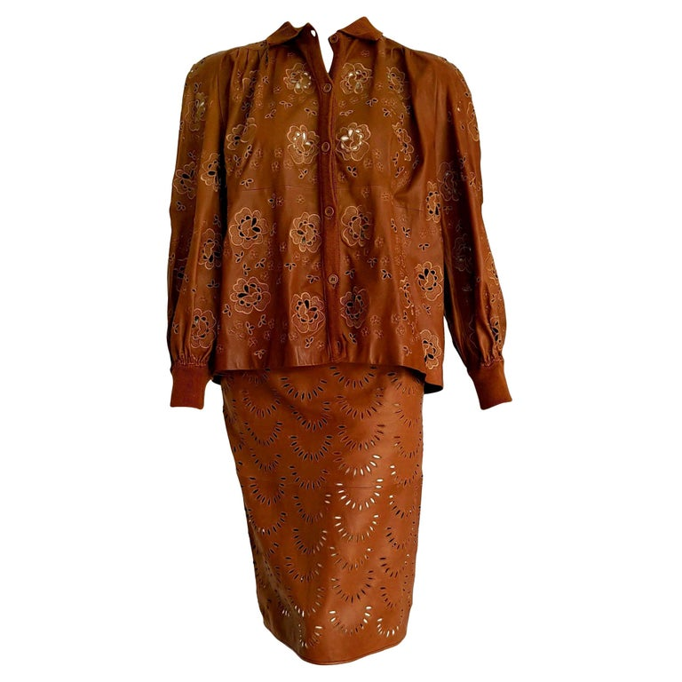"VALENTINO ""New"" Perforated Brown Leather Silk Embroidered Skirt Suit - Unworn For Sale"