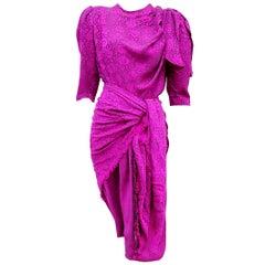 "VALENTINO ""New"" Purple Flowers theme with Shawl Silk Dress - Unworn"