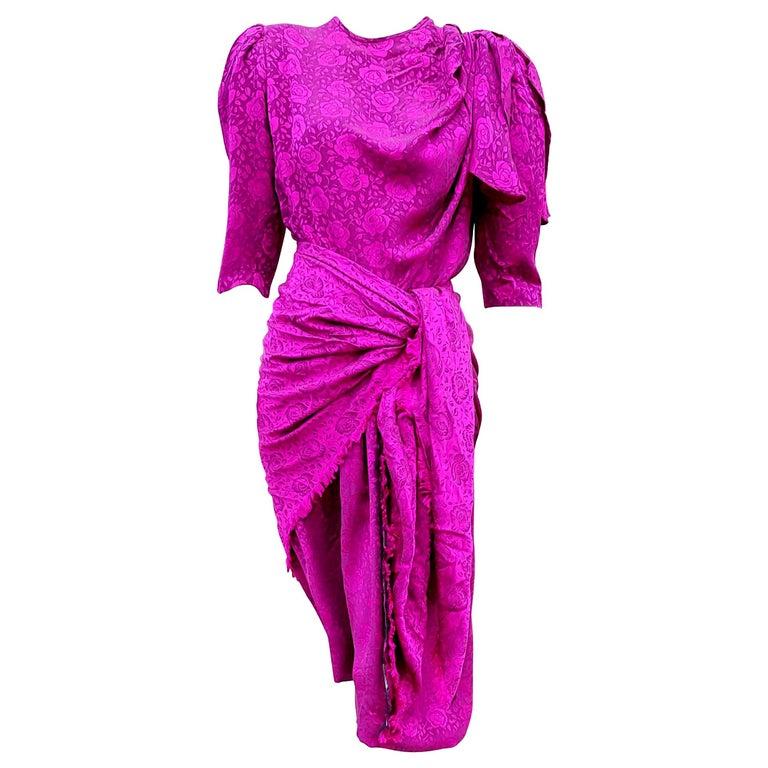 "VALENTINO ""New"" Purple Flowers theme with Shawl Silk Dress - Unworn  For Sale"