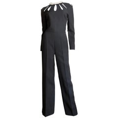 Valentino New Silk Cut out Jumpsuit with Optional Flower Applique Collar