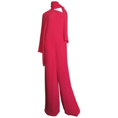 Valentino New Silk One Sleeve Jumpsuit with Tie Neck
