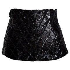"""VALENTINO """"New"""" Swarovski Beads Sequins Black Waistband Dress or Gown - Unworn"""