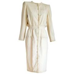 "VALENTINO ""New"" White Cream Silk and Wool Silk Lined Buttons Dress - Unworn"