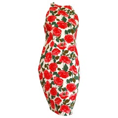 "VALENTINO ""New"" White with Red Roses Sleeveless Silk Dress - Unworn"