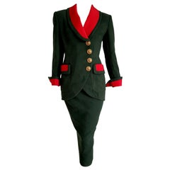 """VALENTINO """"New"""" Wool and Silk Gilt Buttons on Jacket Skirt Suit - Unworn"""