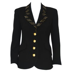 Valentino Night Black Jacket Ribbon W/Gold Tone Crystals & Gold Cat Buttons