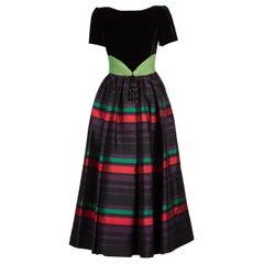 Valentino Night Black Velvet Red Green Purple Striped Silk Gown, 1990s