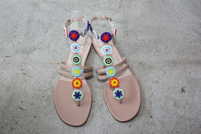 Brown Valentino Multi-color Gladiator Beaded Sandals Size 39  For Sale
