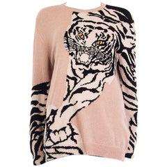 VALENTINO nude & black TIGER cashmere Crewneck Sweater L