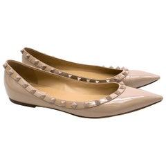 Valentino Nude Patent Leather Rockstud Ballerina Flats 41 (IT)