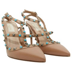 Valentino Nude Turquoise Rockstud Leather Pumps