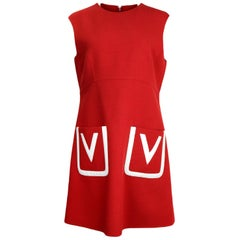 Valentino NWT Red Wool V Pocket A-Line Dress sz 12 rt $2,490
