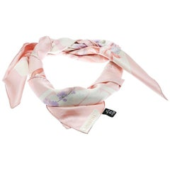 Valentino Off White and Pink Floral Printed Silk Square Scarf