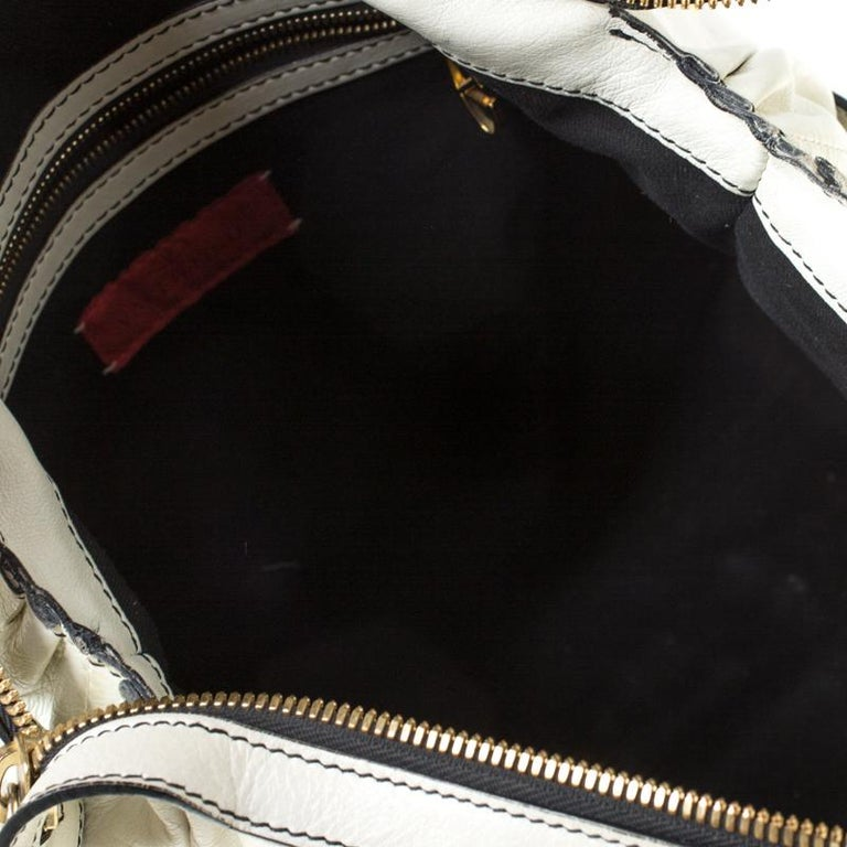 Valentino Off White Leather Maison Pintucked Shopper Tote For Sale 1