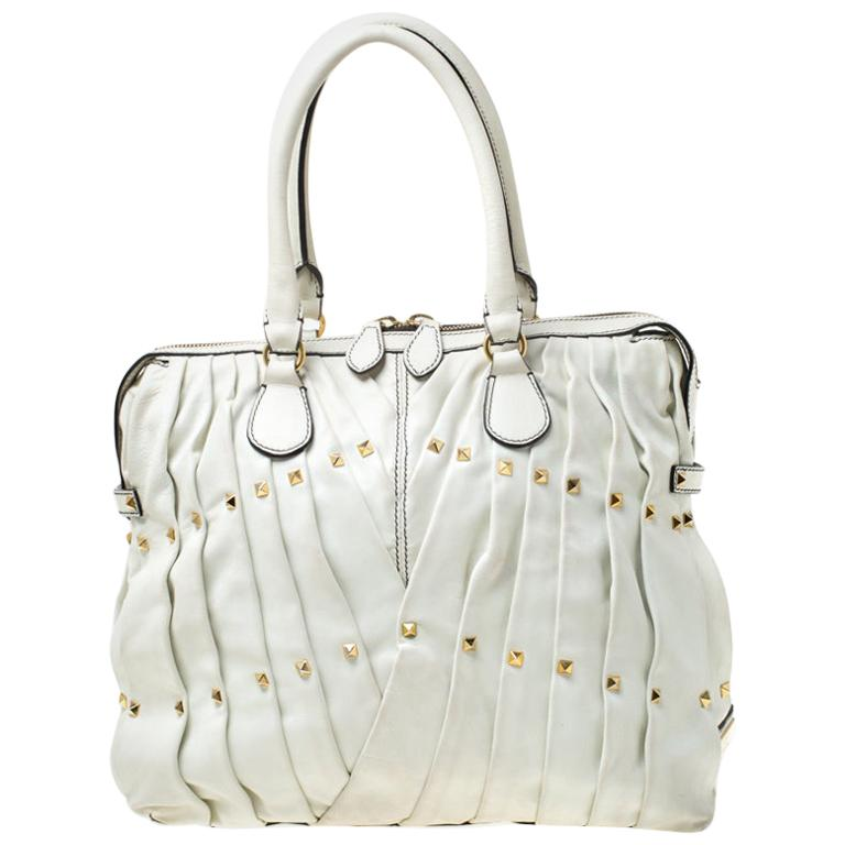 Valentino Off White Leather Maison Pintucked Shopper Tote For Sale