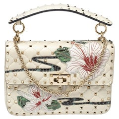 Valentino Off White Quilted Leather Medium Hibiscus Embroidery Rockstud Spike Sh