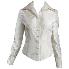 Valentino Off White Silk Fitted Blouse