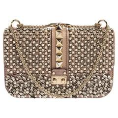 Valentino Old Rose Crystal/Beads Embellished Leather Medium Glam Lock Flap Bag
