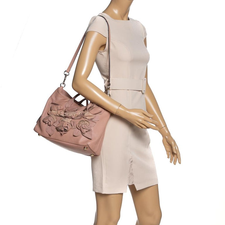 Brown Valentino Old Rose Leather Floral Applique Tote For Sale