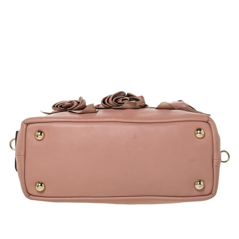 Women's Valentino Old Rose Leather Floral Applique Tote For Sale