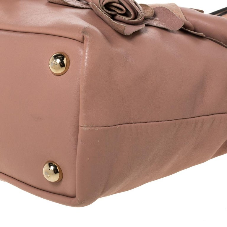 Valentino Old Rose Leather Floral Applique Tote For Sale 3