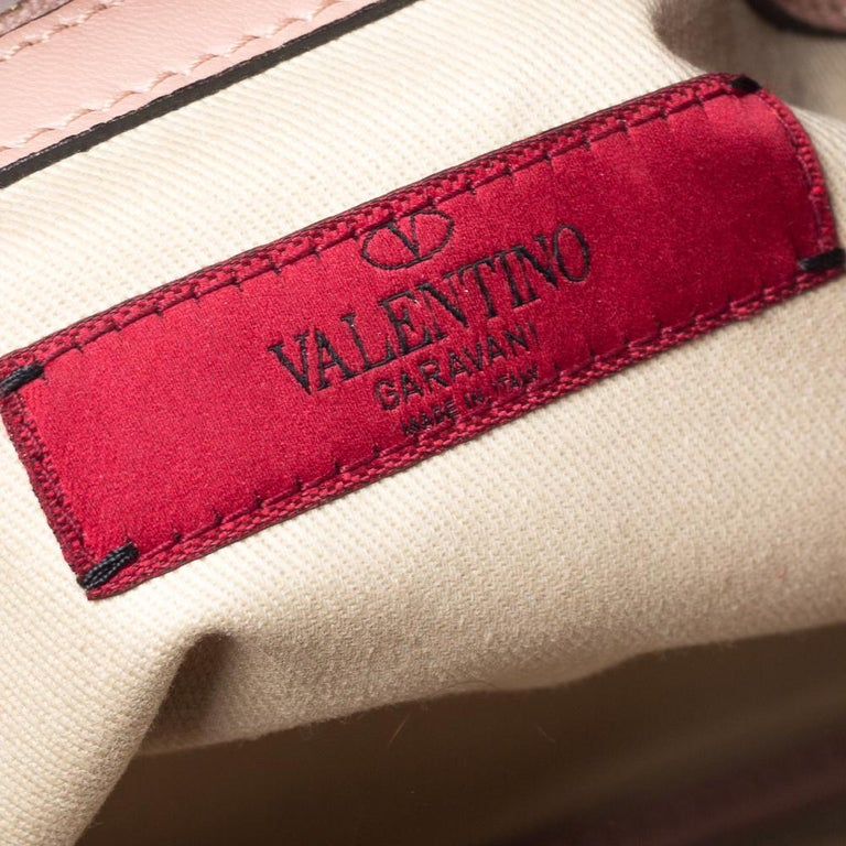 Valentino Old Rose Leather Floral Applique Tote For Sale 4