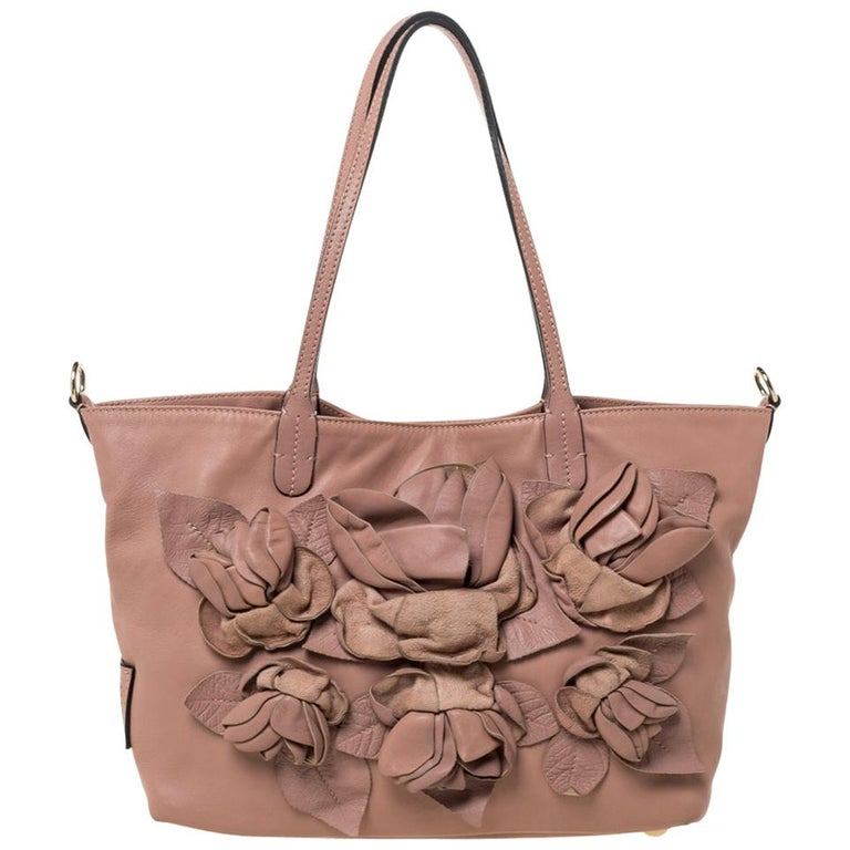 Valentino Old Rose Leather Floral Applique Tote For Sale